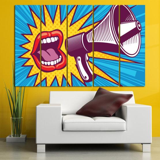 Декоративни панели и картини от канава - от 5 части №0795 » Червен, Син, Тюркоаз, Жълт, Бял, Тъмно сив » Изкуство, Модерен, Графичен, Комикс, Дизайн,  Form #2