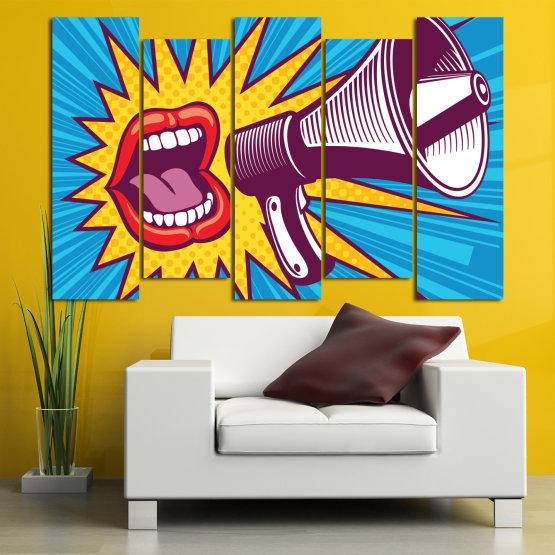 Декоративни панели и картини от канава - от 5 части №0795 » Червен, Син, Тюркоаз, Жълт, Бял, Тъмно сив » Изкуство, Модерен, Графичен, Комикс, Дизайн,  Form #3