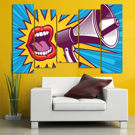 Декоративни панели и картини от канава - от 5 части №0795 » Червен, Син, Тюркоаз, Жълт, Бял, Тъмно сив » Изкуство, Модерен, Графичен, Комикс, Дизайн,  Form #4