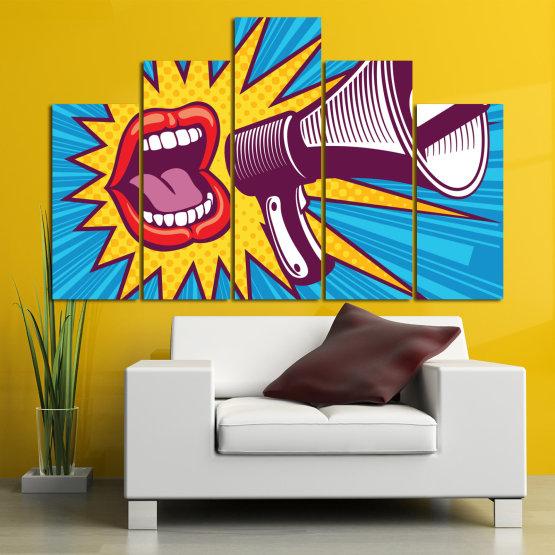 Декоративни панели и картини от канава - от 5 части №0795 » Червен, Син, Тюркоаз, Жълт, Бял, Тъмно сив » Изкуство, Модерен, Графичен, Комикс, Дизайн,  Form #5