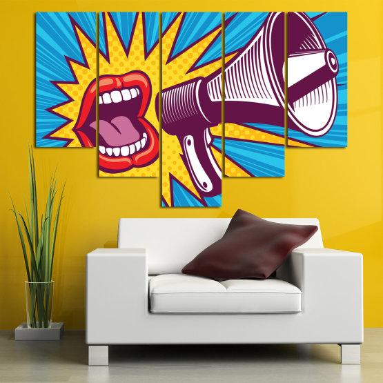 Декоративни панели и картини от канава - от 5 части №0795 » Червен, Син, Тюркоаз, Жълт, Бял, Тъмно сив » Изкуство, Модерен, Графичен, Комикс, Дизайн,  Form #6