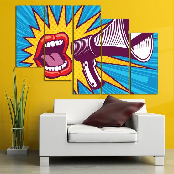 Декоративни панели и картини от канава - от 5 части №0795 » Червен, Син, Тюркоаз, Жълт, Бял, Тъмно сив » Изкуство, Модерен, Графичен, Комикс, Дизайн,  Form #7