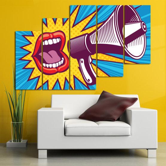 Декоративни панели и картини от канава - от 5 части №0795 » Червен, Син, Тюркоаз, Жълт, Бял, Тъмно сив » Изкуство, Модерен, Графичен, Комикс, Дизайн,  Form #8