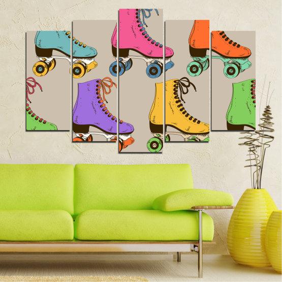 Декоративни панели и картини от канава - от 5 части №0796 » Розов, Лилав, Зелен, Жълт, Кафяв, Сив » Рисунка, Графичен, Цвят, Комикс, Дизайн, Цветове, , , , ,  Form #1