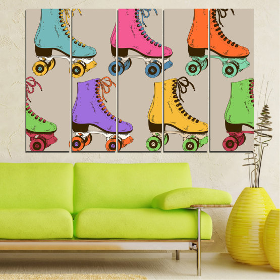 Декоративни панели и картини от канава - от 5 части №0796 » Розов, Лилав, Зелен, Жълт, Кафяв, Сив » Рисунка, Графичен, Цвят, Комикс, Дизайн, Цветове, , , , ,  Form #2