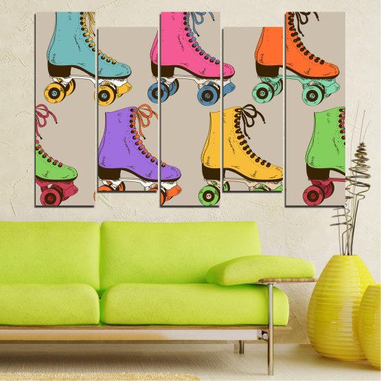 Декоративни панели и картини от канава - от 5 части №0796 » Розов, Лилав, Зелен, Жълт, Кафяв, Сив » Рисунка, Графичен, Цвят, Комикс, Дизайн, Цветове, , , , ,  Form #3