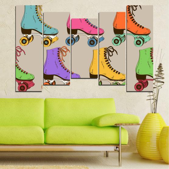 Декоративни панели и картини от канава - от 5 части №0796 » Розов, Лилав, Зелен, Жълт, Кафяв, Сив » Рисунка, Графичен, Цвят, Комикс, Дизайн, Цветове, , , , ,  Form #4