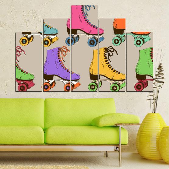 Декоративни панели и картини от канава - от 5 части №0796 » Розов, Лилав, Зелен, Жълт, Кафяв, Сив » Рисунка, Графичен, Цвят, Комикс, Дизайн, Цветове, , , , ,  Form #5