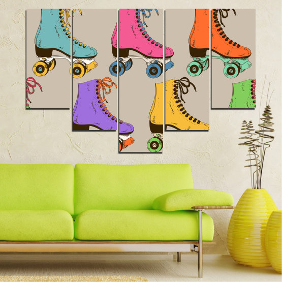Декоративни панели и картини от канава - от 5 части №0796 » Розов, Лилав, Зелен, Жълт, Кафяв, Сив » Рисунка, Графичен, Цвят, Комикс, Дизайн, Цветове, , , , ,  Form #6