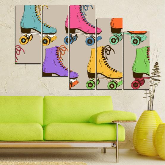 Декоративни панели и картини от канава - от 5 части №0796 » Розов, Лилав, Зелен, Жълт, Кафяв, Сив » Рисунка, Графичен, Цвят, Комикс, Дизайн, Цветове, , , , ,  Form #7