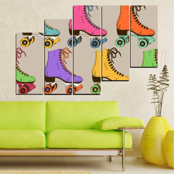 Декоративни панели и картини от канава - от 5 части №0796 » Розов, Лилав, Зелен, Жълт, Кафяв, Сив » Рисунка, Графичен, Цвят, Комикс, Дизайн, Цветове, , , , ,  Form #8