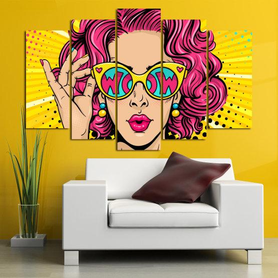Декоративни панели и картини от канава - от 5 части №0799 » Розов, Жълт, Черен, Бежов » Рисунка, Изкуство, Графичен, Комикс, Дизайн, Цветове Form #1
