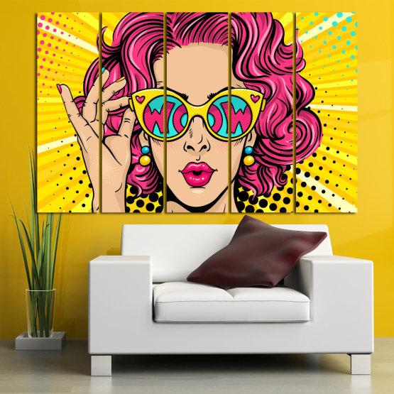 Декоративни панели и картини от канава - от 5 части №0799 » Розов, Жълт, Черен, Бежов » Рисунка, Изкуство, Графичен, Комикс, Дизайн, Цветове Form #2