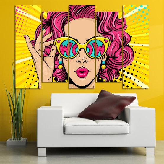 Декоративни панели и картини от канава - от 5 части №0799 » Розов, Жълт, Черен, Бежов » Рисунка, Изкуство, Графичен, Комикс, Дизайн, Цветове Form #3