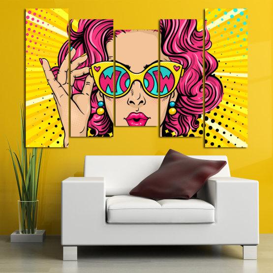 Декоративни панели и картини от канава - от 5 части №0799 » Розов, Жълт, Черен, Бежов » Рисунка, Изкуство, Графичен, Комикс, Дизайн, Цветове Form #4