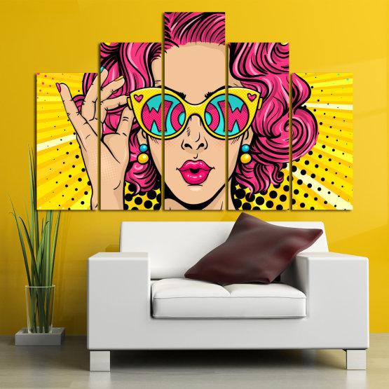 Декоративни панели и картини от канава - от 5 части №0799 » Розов, Жълт, Черен, Бежов » Рисунка, Изкуство, Графичен, Комикс, Дизайн, Цветове Form #5