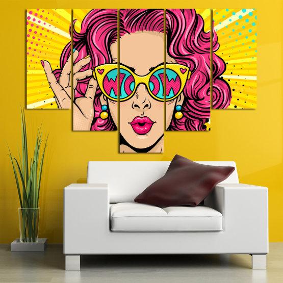Декоративни панели и картини от канава - от 5 части №0799 » Розов, Жълт, Черен, Бежов » Рисунка, Изкуство, Графичен, Комикс, Дизайн, Цветове Form #6