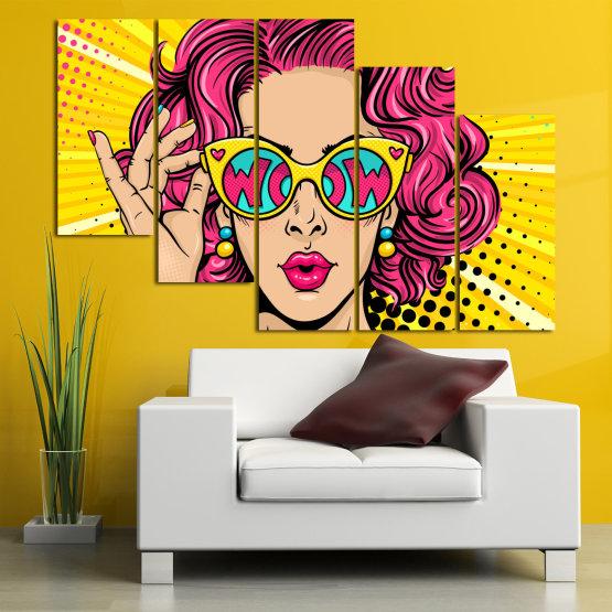 Декоративни панели и картини от канава - от 5 части №0799 » Розов, Жълт, Черен, Бежов » Рисунка, Изкуство, Графичен, Комикс, Дизайн, Цветове Form #7