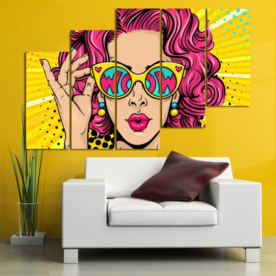 Декоративни панели и картини от канава - от 5 части №0799 » Розов, Жълт, Черен, Бежов » Рисунка, Изкуство, Графичен, Комикс, Дизайн, Цветове Form #8