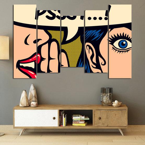 Декоративни панели и картини от канава - от 5 части №0800 » Червен, Син, Жълт, Черен, Бежов » Рисунка, Изкуство, Графичен, Комикс, Дизайн Form #4