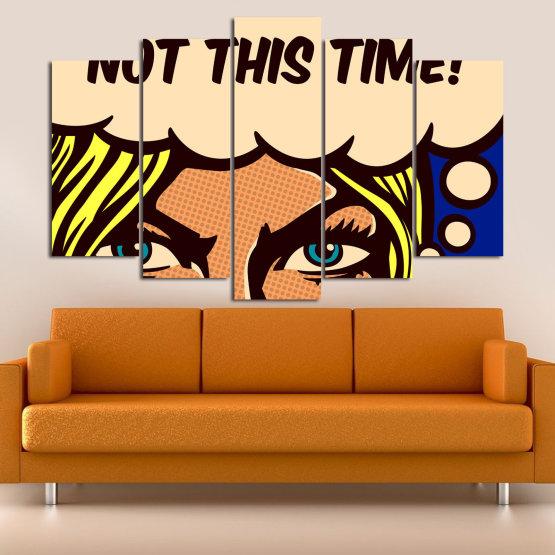 Декоративни панели и картини от канава - от 5 части №0801 » Син, Жълт, Оранжев, Черен, Бежов » Рисунка, Изкуство, Ретро, Графичен, Комикс, Дизайн, Реколта Form #1