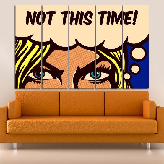 Декоративни панели и картини от канава - от 5 части №0801 » Син, Жълт, Оранжев, Черен, Бежов » Рисунка, Изкуство, Ретро, Графичен, Комикс, Дизайн, Реколта Form #2