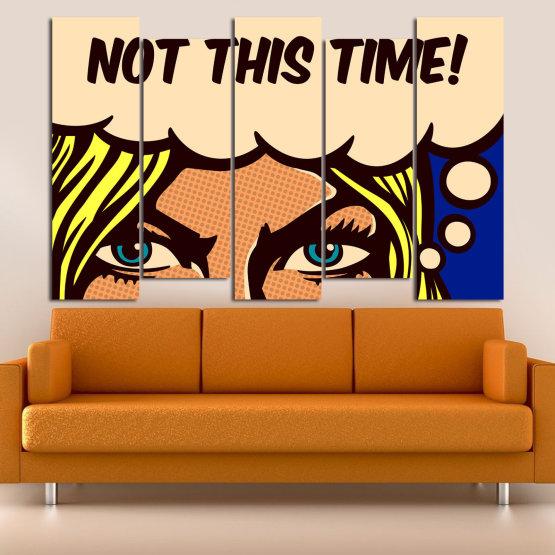 Декоративни панели и картини от канава - от 5 части №0801 » Син, Жълт, Оранжев, Черен, Бежов » Рисунка, Изкуство, Ретро, Графичен, Комикс, Дизайн, Реколта Form #3