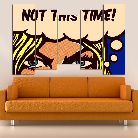 Декоративни панели и картини от канава - от 5 части №0801 » Син, Жълт, Оранжев, Черен, Бежов » Рисунка, Изкуство, Ретро, Графичен, Комикс, Дизайн, Реколта Form #4