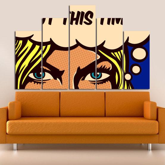 Декоративни панели и картини от канава - от 5 части №0801 » Син, Жълт, Оранжев, Черен, Бежов » Рисунка, Изкуство, Ретро, Графичен, Комикс, Дизайн, Реколта Form #5