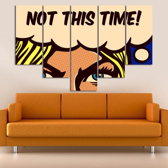 Декоративни панели и картини от канава - от 5 части №0801 » Син, Жълт, Оранжев, Черен, Бежов » Рисунка, Изкуство, Ретро, Графичен, Комикс, Дизайн, Реколта Form #6
