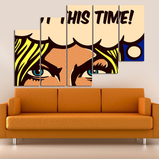 Декоративни панели и картини от канава - от 5 части №0801 » Син, Жълт, Оранжев, Черен, Бежов » Рисунка, Изкуство, Ретро, Графичен, Комикс, Дизайн, Реколта Form #8