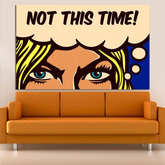 Декоративни панели и картини от канава - от 1 част №0801 » Син, Жълт, Оранжев, Черен, Бежов » Рисунка, Изкуство, Ретро, Графичен, Комикс, Дизайн,  Form #1