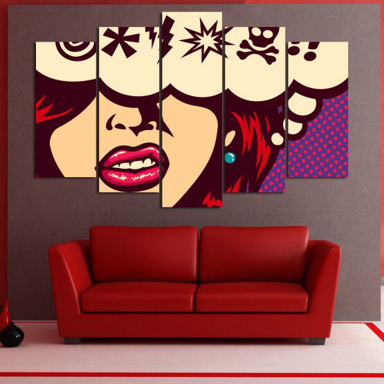 Canvas prints & wall decorative panels - 5 pieces №0803 » Red, Purple, Beige » Drawing, Art, Graphic, Cartoon, Design, Vintage Form #1