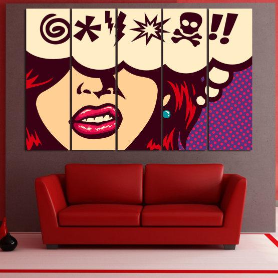 Декоративни панели и картини от канава - от 5 части №0803 » Червен, Лилав, Бежов » Рисунка, Изкуство, Графичен, Комикс, Дизайн,  Form #2