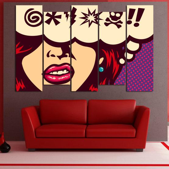 Декоративни панели и картини от канава - от 5 части №0803 » Червен, Лилав, Бежов » Рисунка, Изкуство, Графичен, Комикс, Дизайн,  Form #3
