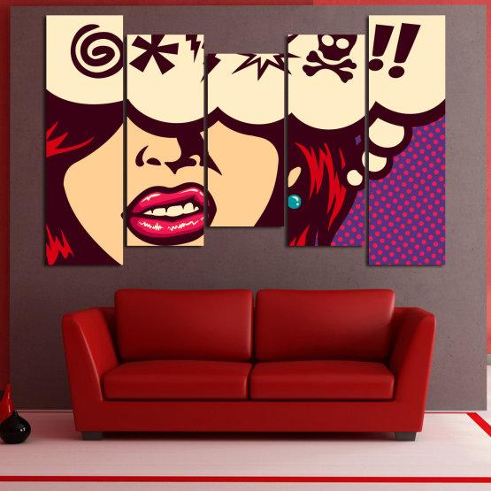 Декоративни панели и картини от канава - от 5 части №0803 » Червен, Лилав, Бежов » Рисунка, Изкуство, Графичен, Комикс, Дизайн,  Form #4