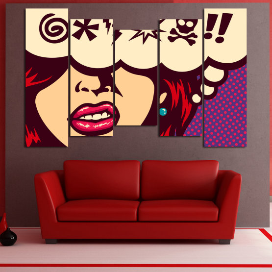 Canvas prints & wall decorative panels - 5 pieces №0803 » Red, Purple, Beige » Drawing, Art, Graphic, Cartoon, Design, Vintage Form #4