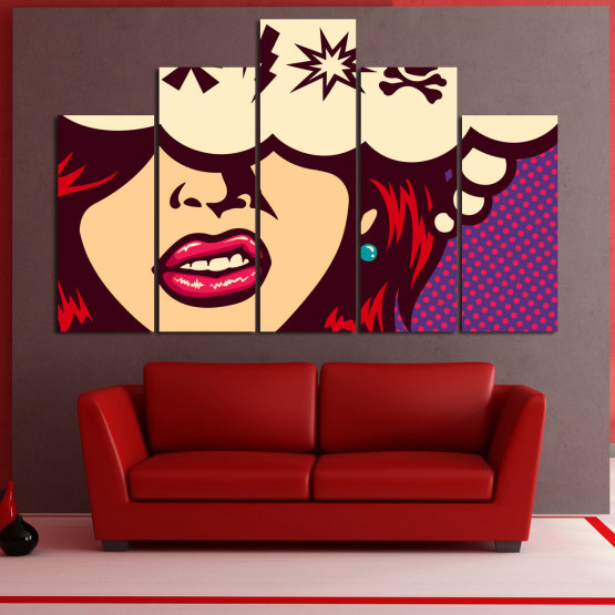 Canvas prints & wall decorative panels - 5 pieces №0803 » Red, Purple, Beige » Drawing, Art, Graphic, Cartoon, Design, Vintage Form #5