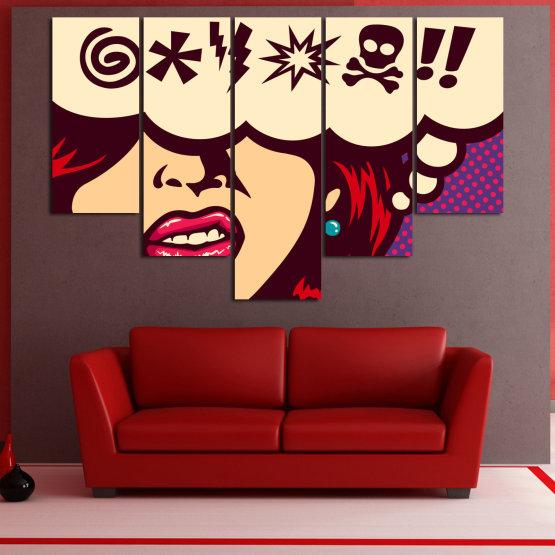 Декоративни панели и картини от канава - от 5 части №0803 » Червен, Лилав, Бежов » Рисунка, Изкуство, Графичен, Комикс, Дизайн,  Form #6