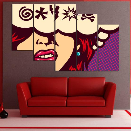 Декоративни панели и картини от канава - от 5 части №0803 » Червен, Лилав, Бежов » Рисунка, Изкуство, Графичен, Комикс, Дизайн,  Form #7