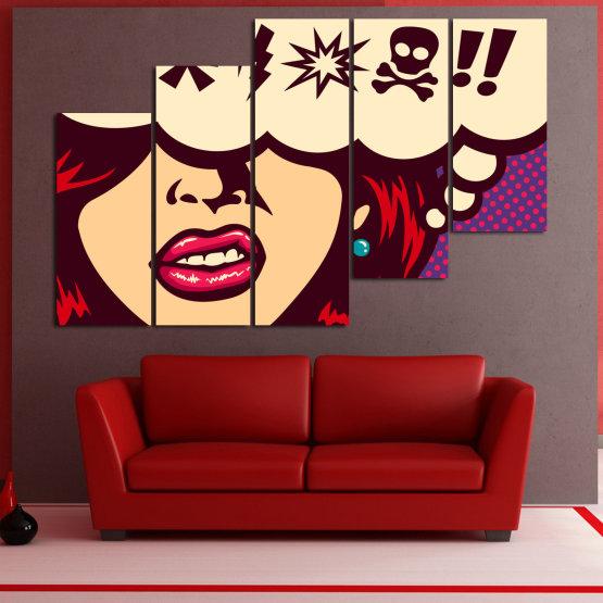 Декоративни панели и картини от канава - от 5 части №0803 » Червен, Лилав, Бежов » Рисунка, Изкуство, Графичен, Комикс, Дизайн,  Form #8