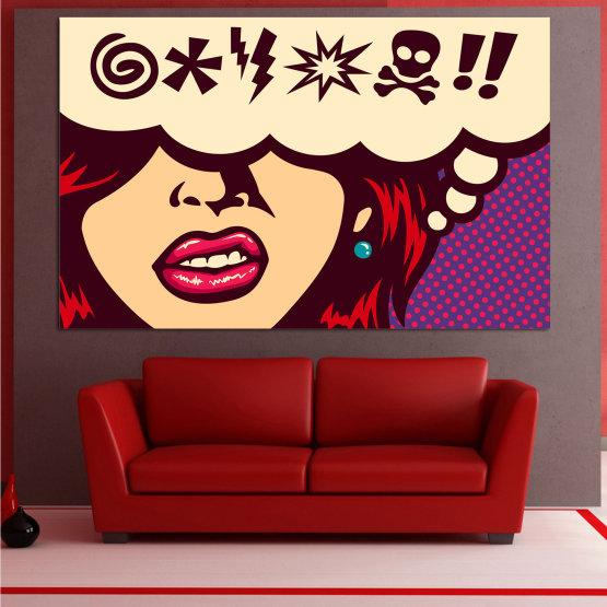 Декоративни панели и картини от канава - от 1 част №0803 » Червен, Лилав, Бежов » Рисунка, Изкуство, Графичен, Комикс, Дизайн, Реколта Form #1
