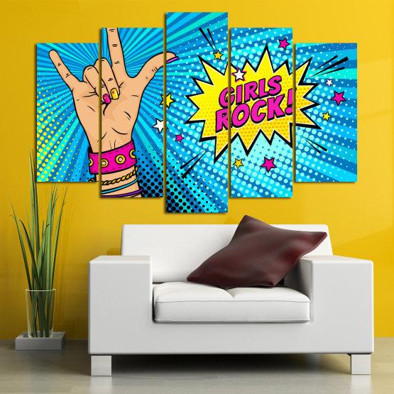 Canvas prints & wall decorative panels - 5 pieces №0804 » Pink, Blue, Black, Gray, Beige » Drawing, Art, Modern, Retro, Artwork, Colorful, Graphic, Cartoon, Design, Graphics Form #1
