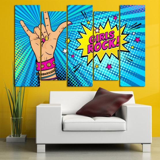 Canvas prints & wall decorative panels - 5 pieces №0804 » Pink, Blue, Black, Gray, Beige » Drawing, Art, Modern, Retro, Artwork, Colorful, Graphic, Cartoon, Design, Graphics Form #3