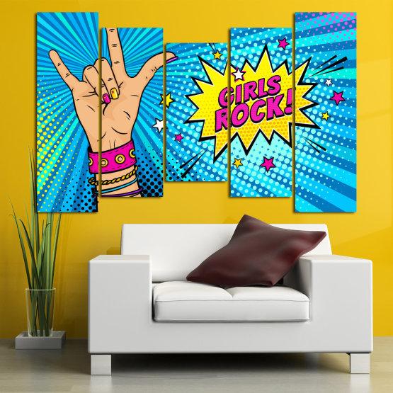 Canvas prints & wall decorative panels - 5 pieces №0804 » Pink, Blue, Black, Gray, Beige » Drawing, Art, Modern, Retro, Artwork, Colorful, Graphic, Cartoon, Design, Graphics Form #4