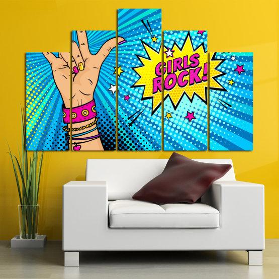 Canvas prints & wall decorative panels - 5 pieces №0804 » Pink, Blue, Black, Gray, Beige » Drawing, Art, Modern, Retro, Artwork, Colorful, Graphic, Cartoon, Design, Graphics Form #5
