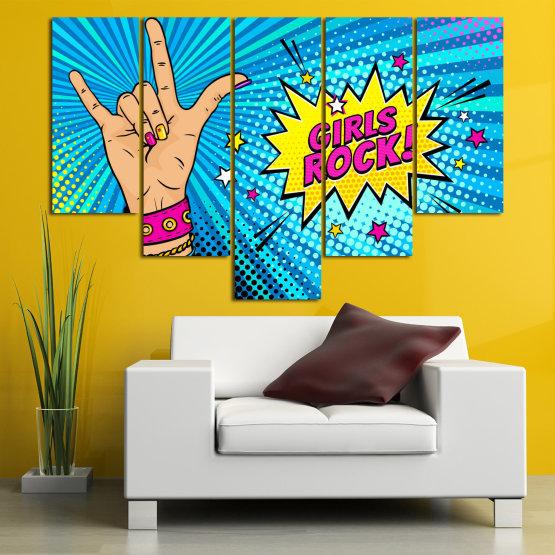 Canvas prints & wall decorative panels - 5 pieces №0804 » Pink, Blue, Black, Gray, Beige » Drawing, Art, Modern, Retro, Artwork, Colorful, Graphic, Cartoon, Design, Graphics Form #6