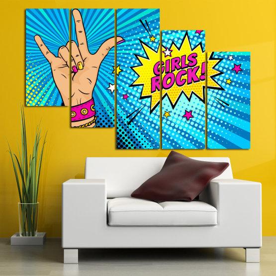 Canvas prints & wall decorative panels - 5 pieces №0804 » Pink, Blue, Black, Gray, Beige » Drawing, Art, Modern, Retro, Artwork, Colorful, Graphic, Cartoon, Design, Graphics Form #7