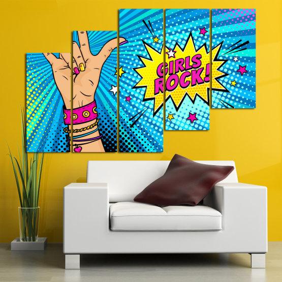 Canvas prints & wall decorative panels - 5 pieces №0804 » Pink, Blue, Black, Gray, Beige » Drawing, Art, Modern, Retro, Artwork, Colorful, Graphic, Cartoon, Design, Graphics Form #8