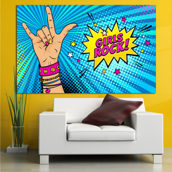Canvas prints & wall decorative panels - 1 piece №0804 » Pink, Blue, Black, Gray, Beige » Drawing, Art, Retro, Colorful, Modern, Artwork, Graphic, Cartoon, Design, Graphics Form #1